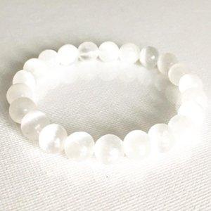 Wholesale 8 mm Genuine Selenite Stone Bracelet Simply Design Crown Chakra Bracelet Womens Reiki Yoga Mala1