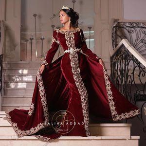 Burgundy Velvet PROM Формальные платья с самобыткой 2021 Karakou Algérien Роскошные Золотые кружева Вышивка Kaftan Caftan Вечерние платья