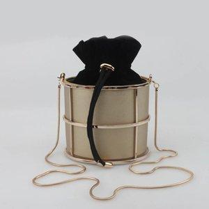 Frizione delle donne borsa della signora PU secchio di metallo Moda Portafoglio in pelle catena della spalla Crossbody Bag Dinner Party piccola borsa Handba
