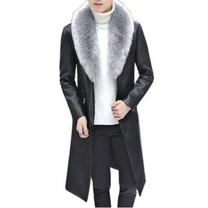 Мужская меховая из искусственного зимнего пиджака воротник длинные раздел Мужчины пальто Бизнес повседневная кожаная куртка флис теплый толстый