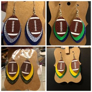 3 layers Pu leather football earrings fashion women sequined green red color sports earring lady girls fashion accessories jewelry 14 design