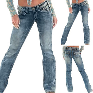 New Womens Sexy Large Gran Tamaño Mid Cintura Cinturón Pega Jeans Pocket Stretch Slim Button Pantalones Jeans Hot Products