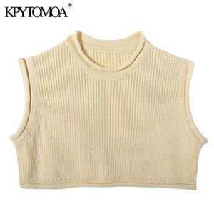 KPYTOMOA Kadınlar Moda Katı Kırpılmış Örme Kazak Vintage O Boyun Kolsuz Kadın Kazaklar Şık 201017 Tops