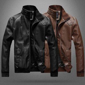 Autumn Winter Motorcycle Leather Jacket Men Windbreaker PU Jackets Male Outwear Warm Faux Leather Jackets New Arrive