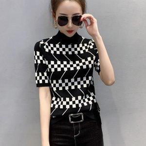 Fashion Knit T-shirt Short Sleeve Women's Tops Spring Summer Tshirt Casual Stand Collar Slim Ladies Skinny Tshirt Sexy Quality Pullover
