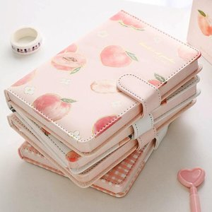 Cute PU Leather Peaches Schedule Notebooks Diary Weekly Planner Notebook School Office Supplies Kawaii Stationery