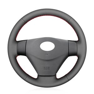 DIY Hand-stitched PU Leather Car Steering Wheel Cover For Hyundai Getz (Facelift) 2005-2011 Accent 2006-2011 BLACK 15inch 38cm