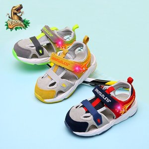 DINOSKULLS Toddler Baby Sandals LED Dinosaur Kids Trainers Front Toe Closed 2 Boys First Walking Summer Sandals Soft Beach Shoes 1005