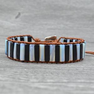 Joursneige Boho Naturkristallstreifen Perlen Leder-Verpackungs-europäische und amerikanische Schmuck-Armbänder