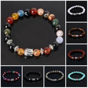 Mens Bracelets Luxury Jewelry Bead Natural Stone Cheap Anchor Beaded Buddha For Men Women Lava Chakra Bracelet
