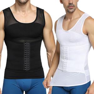Homens Shapewear gancho de olho fechamento ajustável Controle Tummy Vest cintura instrutor Slimming Abdomen alças respirável malha Shaper Corpo