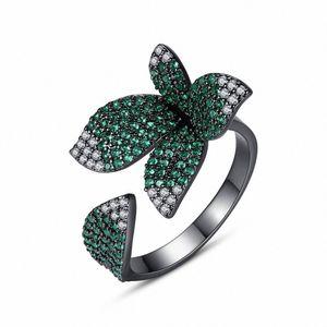 Zirkonia klassische Blumen-Ring, Hochzeit / Party / Abendessen Schmuck für Frauen Mithelfer, RD184 NhrE #