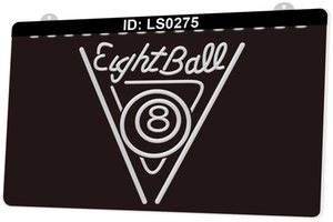 LS0275 Eight ball 8 Pool Game Billiards 3D Engraving LED Light Sign 9 Colors Wholesale Retail Free Design