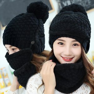 3 Pcs set Winter Hats For Women With Breathing Mask 2in1 Knitted Hat Girl Pompoms Hat Warm Add Fur Lined Protective Winter
