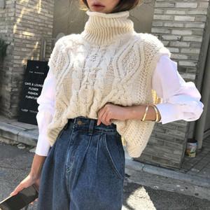 DEAT 2020 Herbst Winter neue Frauen-süße Art ärmelRollKragen Strick lose Pullover Short Sweater RC116