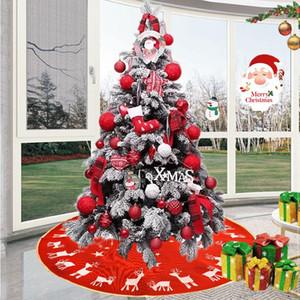 100 centímetros Cervos do Natal Cart Saia de árvore Árvore Rug Avental do Natal de linho vermelha Perna Base de saia Decoração Elk Rodada Carpet