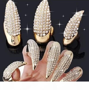 Crystal Rhinestone False Nail Ring Gold Black Paw Talon Cat Claw Rings punk Rock will and sandy fashion Jewelry