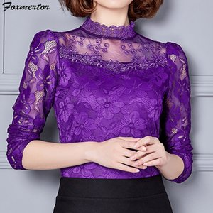 Foxmertor Blouses Top Blusa Spring Summer Summer Fashion Manica Lunga Lace Blusa Camicetta Camicia Casual Office Donne Dimensioni Y200622