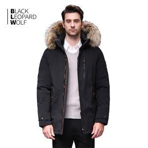 Blackleopardwolf inverno para baixo jaqueta menino homens grossos parka homens alaska impermeável impermeável outwear pele luxo bl- lj201215