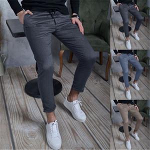 Panants maigres de couleur massif hommes tendance tendance texture hip hop hipstring pantalons printemps mâle fermeture à glissière skateboard décontracté pantalon mince