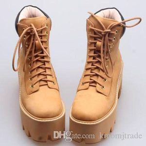 Frau Jeffrey Brown Nirvana Boots Weizen Plattform Ferse Chunky Bottom-Schnürstiefel Campbell-echtes Leder Nirvana Schuhe