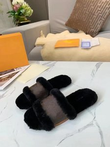 cuir femmes de l'automne de haute qualité laine pantoufle mode rose plat demi pantoufles lumière de mode de qualité Loüis wer VUITTON confortable