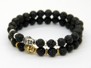 2015 Hot Sale Jewelry Black Lava Energy Stone Beads Gold And Silver Buddha Bracelets Wholesale New Products for Men's and Women's GIft