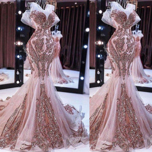 New rose gold mermaid evening dresses long sparkly sequin appliqué beaded fishtail prom gown robe de soiree