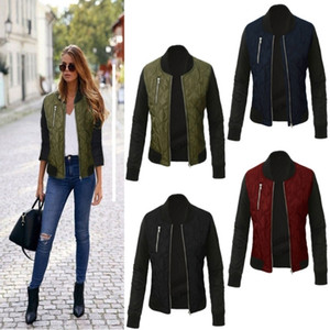 Autumn Winter Leisure Fashion Solid Women Jacket Zipper Stitching Quilted Bomber jacket New Women Coats 201019