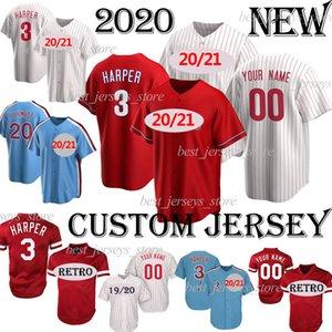 2020 Filadelfia Bryce 3 Harper Custom Baseball Jersey Aaron 27 Nola 4 Dykstra 10 Daulton Men Mujeres Niños Camisetas de Beisbol