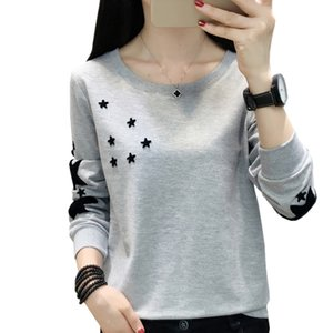 Hoodie Womens Autumn Korean Embroidered Stars Fashion Women Sweatshirt Plus Size O-Neck Blouse Long Sleeve Pullover Clothes 201008