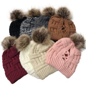 NEW Pom Criss Cross Ponytail Beanie 32 Styles Winter Warm Wool Knitted Hat Women Cross Ponytail Hat Beanie KKA1773