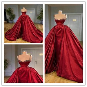 Gorgeous Red A-line Evening Dresses Crystal Beads Sexy Spaghetti Sleeveless Formal Party Dress Sweep Train Custom Made Newest Prom Dress