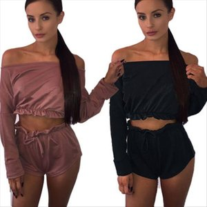 2017 New Women Ladies Clubwear Off shoulder Crop Top Shorts Suits Bodycon Sexy Clothing Sets