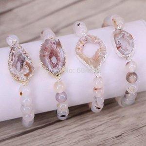 5 Strand Zyunz Natureza pulseiras conector geode, contas de pedra redondas esticar pulseiras jóias