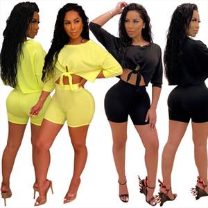 2PCS Women Sports Suit Lace up Neon Crop Tops Short Pants Workout Tracksuit Fashion Summer Outfit Ladies Casual 2 Piece Set 2020