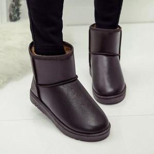 ClassicWaterproof à prova de carneiro de pele de pele alinhada botas de neve de inverno curto para mulheres casuais inverno tênis sapatos de mulher cinza preto # ED25