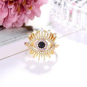 01 Fashion gold pavé crown lashes enamel lucky evil eye open ring ladies jewelry B1