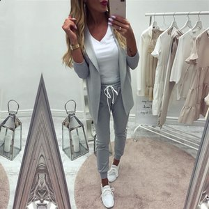 Taotrees Women's Costume Sports Suit spring tracksuit female lapel blazer jacket+pant two piece outfits X0924