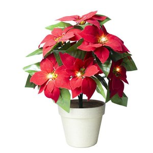 1 stück gefälschte poinsettia stilvolle seide blumenblumentopf nachtlicht dekorative blume gefälschte poinsettia partei für office home shop