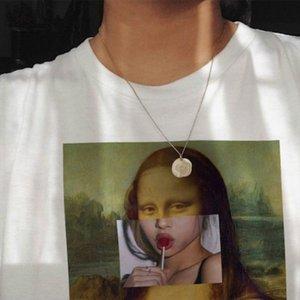 WVIOCE Mona Lisa de dibujos animados divertidos de la manera impresión de la camisa de las mujeres T parodia personalidad de la manera de Harajuku Verano Vestimenta para mujer