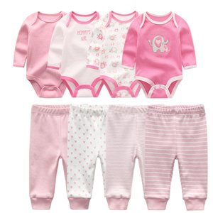 Newborn Infant Cotton Long Sleeve Baby Romper Unisex Baby Boy Girls Bodysuit and pants baby clothes sets Y1113