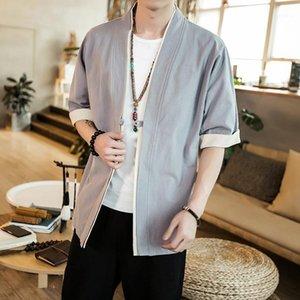 2020 Spring de estilo chino y lino de verano Nuevo estilo suelto hombres de mujer vestida china Cardigan Cardigan Media manga Robes Kimono Cotton1
