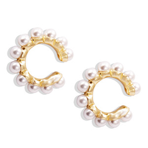 2020 New Fashion and Creative Ear Clip European and American Alloy Inlaid Pearl C-shaped Lady Earbone Clip Earrings