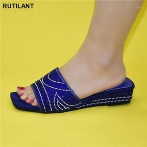 Neue Ankünfte für die Partei Italienische Damenschuhe Afrikanische Damen Einzelne Schuhe Dekoriert mit Rhinestones Nigerianische Pumpen1