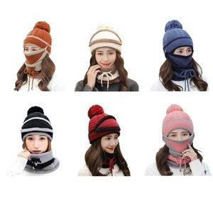 3pcs Women Knitted Hat Scarf Masks For Ladies Winter Fleece Neck Warm Fashion Hat Skullies Beanies Caps Scarf
