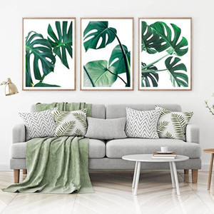 Green Palm Leaf Wall Art Print Monstera Leaves Canvas Painting Minimalist Tropical Plant Wall Picture for Living Room Home Decor