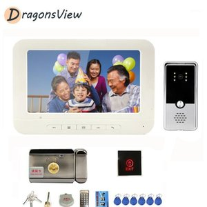 Video Door Phones Dragonsview Intercom With Lock And Exit Button 7 Inch Phone White Monitor 1000TVL Night Vision Doorbell Camera1