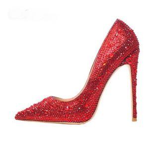 2021 New Fashion Shoes Woman Red Crystals Stiletto Heel Bombas Shiny Rhinestone Novia Boda Sexy Party Shoes para mujeres Tacones altos 12 cm 10 cm