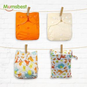 Mumsbest 4PCS / пакет многоразовые тканевые подгузники с 30 * 40 мокрый мешок моющиеся водонепроницаемые доступен 3-15 кг экологически чистый подгузник1
